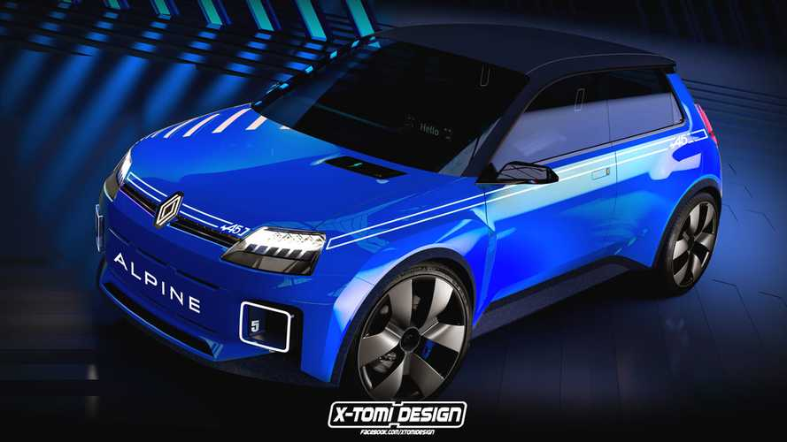 Renault 5 Alpine rendering previews a modern electric pocket rocket