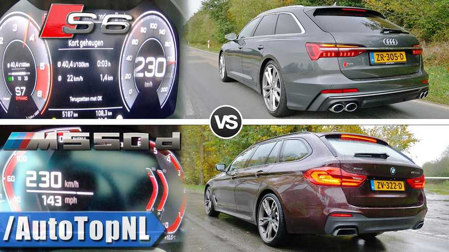 Audi S6 races BMW M550d in diesel acceleration duel