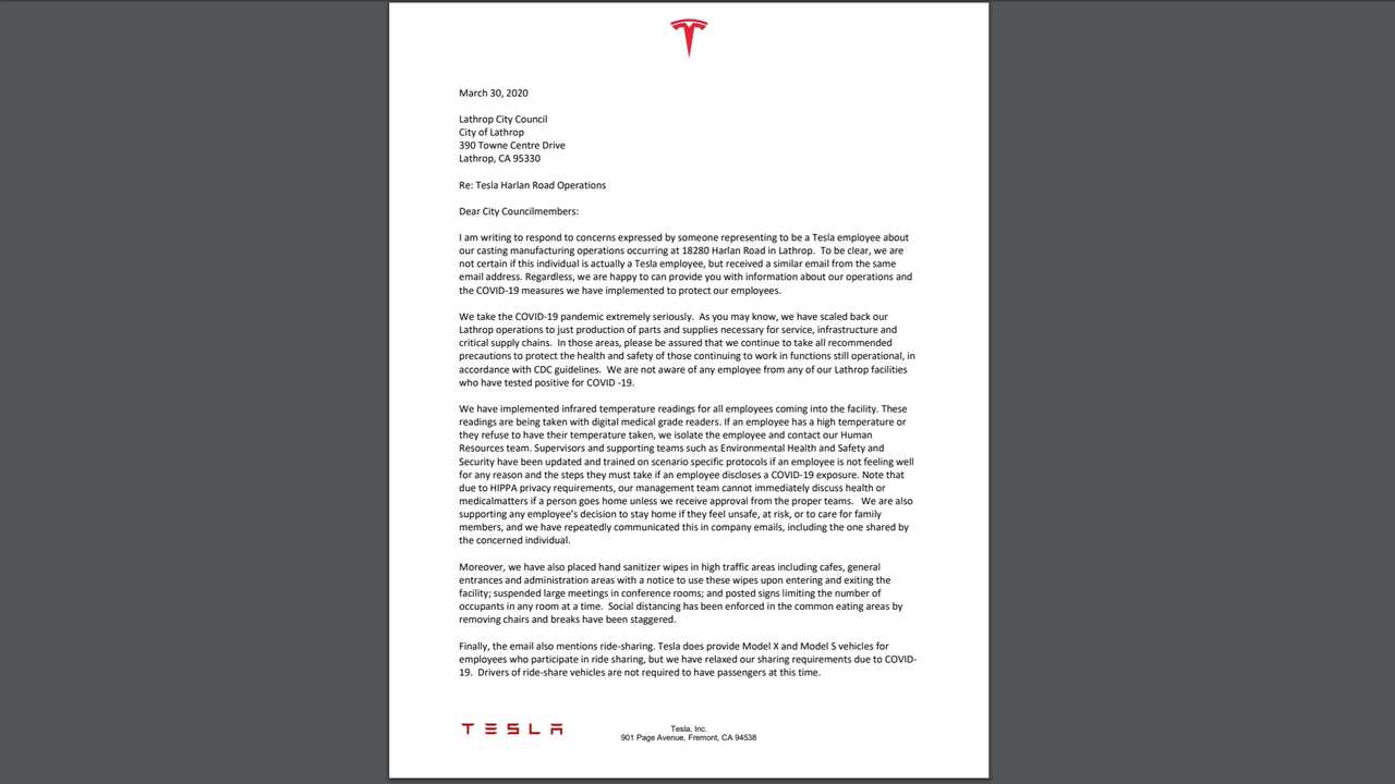 Tesla Claims To Protect Lathrop Workers: More Workers Say It Doesn't
