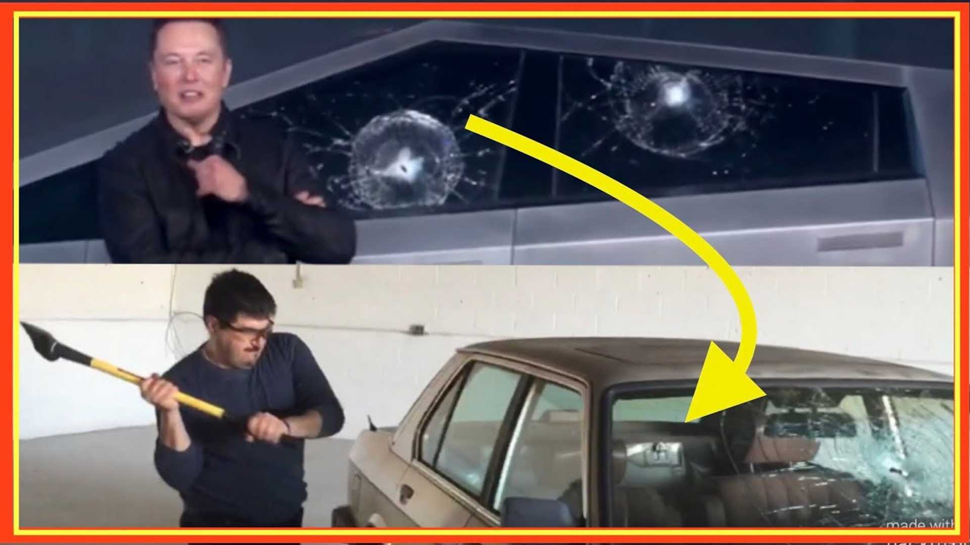 Steel Balls Shatter Cybertruck Glass, But Can An Axe Break BMW Glass?