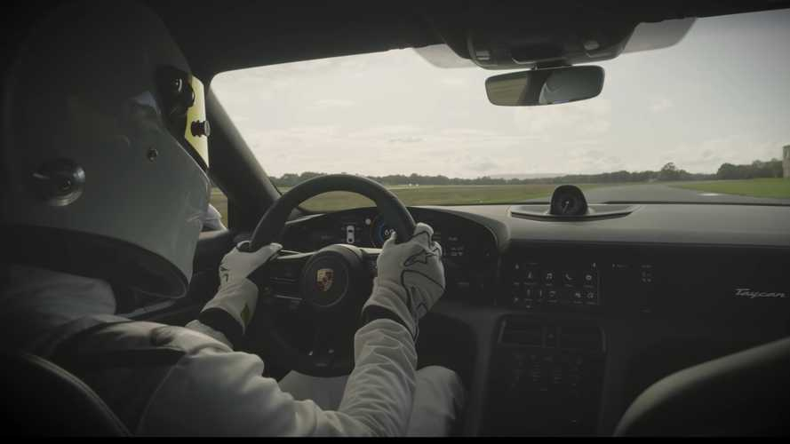 Porsche Taycan Turbo S lapping Top Gear track sounds... interesting