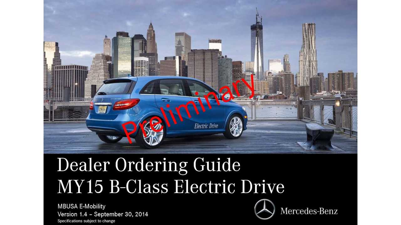 2015 Mercedes B-Class Electric Drive: Range Package Now Standard