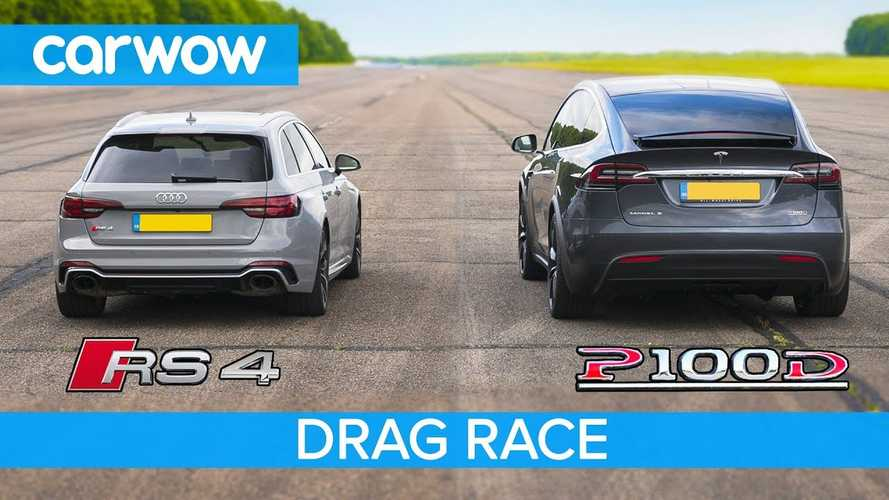 Watch Tesla Model X P100D Obliterate Audi RS4 In Drag Race