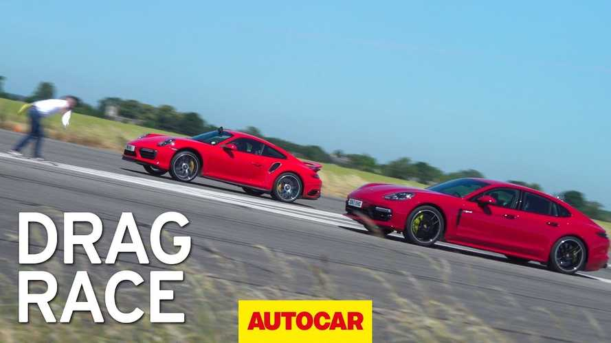 Watch Porsche Panamera Turbo S E-Hybrid Drag Race 911 Turbo S
