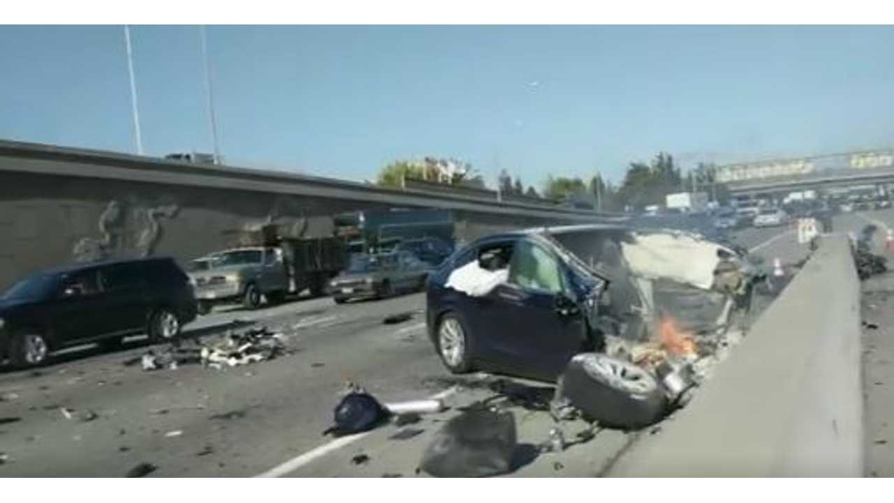 Update 5: Video From Immediate Aftermath Of Tesla Model X Crash, NTSB Investigation