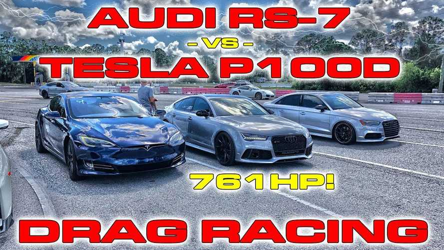 Watch Tesla Model S P100D Race-Modified Audi RS 7