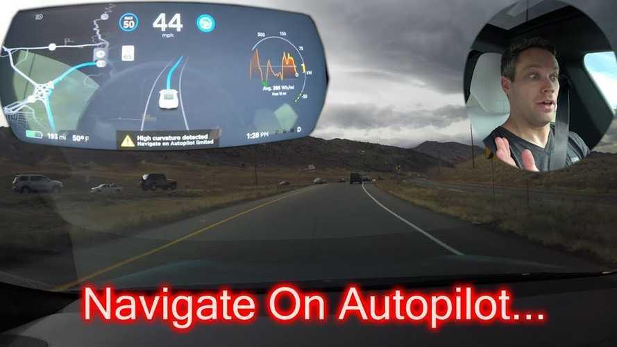 Tesla's Navigate On Autopilot Takes On Tricky Double Exit