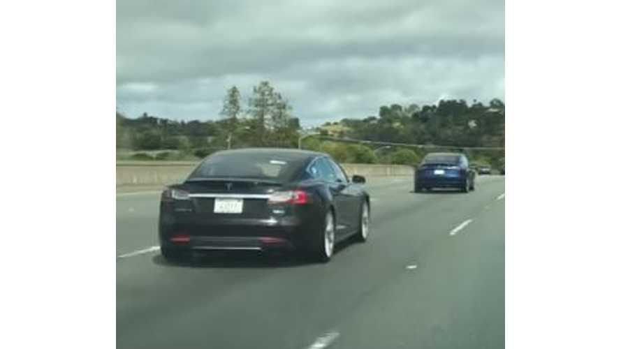 Blue Tesla Model 3 Spotted Driving On Highway - Video