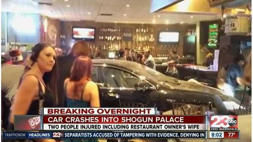 Tesla Model S Crashes Into Sushi Restaurant (w/video)