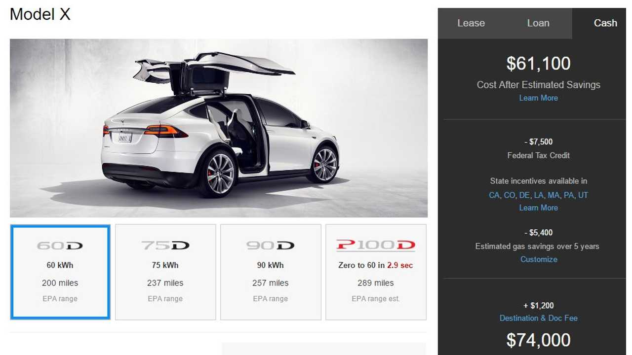 Detailed EPA Range Rating For All Versions Of Tesla Model X - Minus P100DL