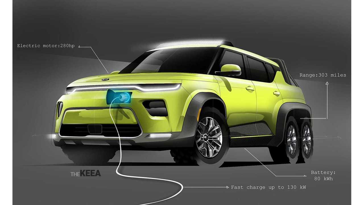 New Kia Soul EV Rendered As Monster 6x6 Off-Roader