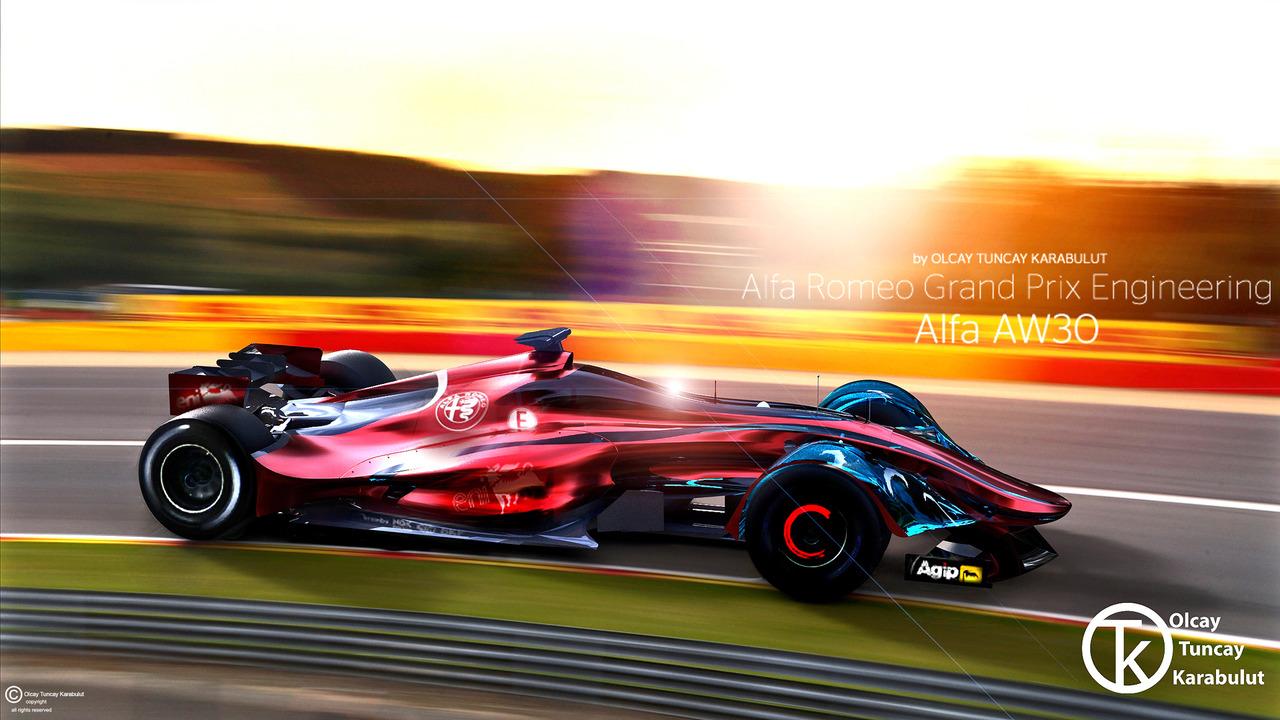 Alfa Romeo AW30 Formula 1 car render