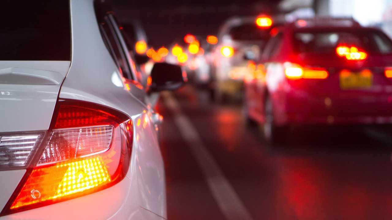 Evening traffic jam and brake lights