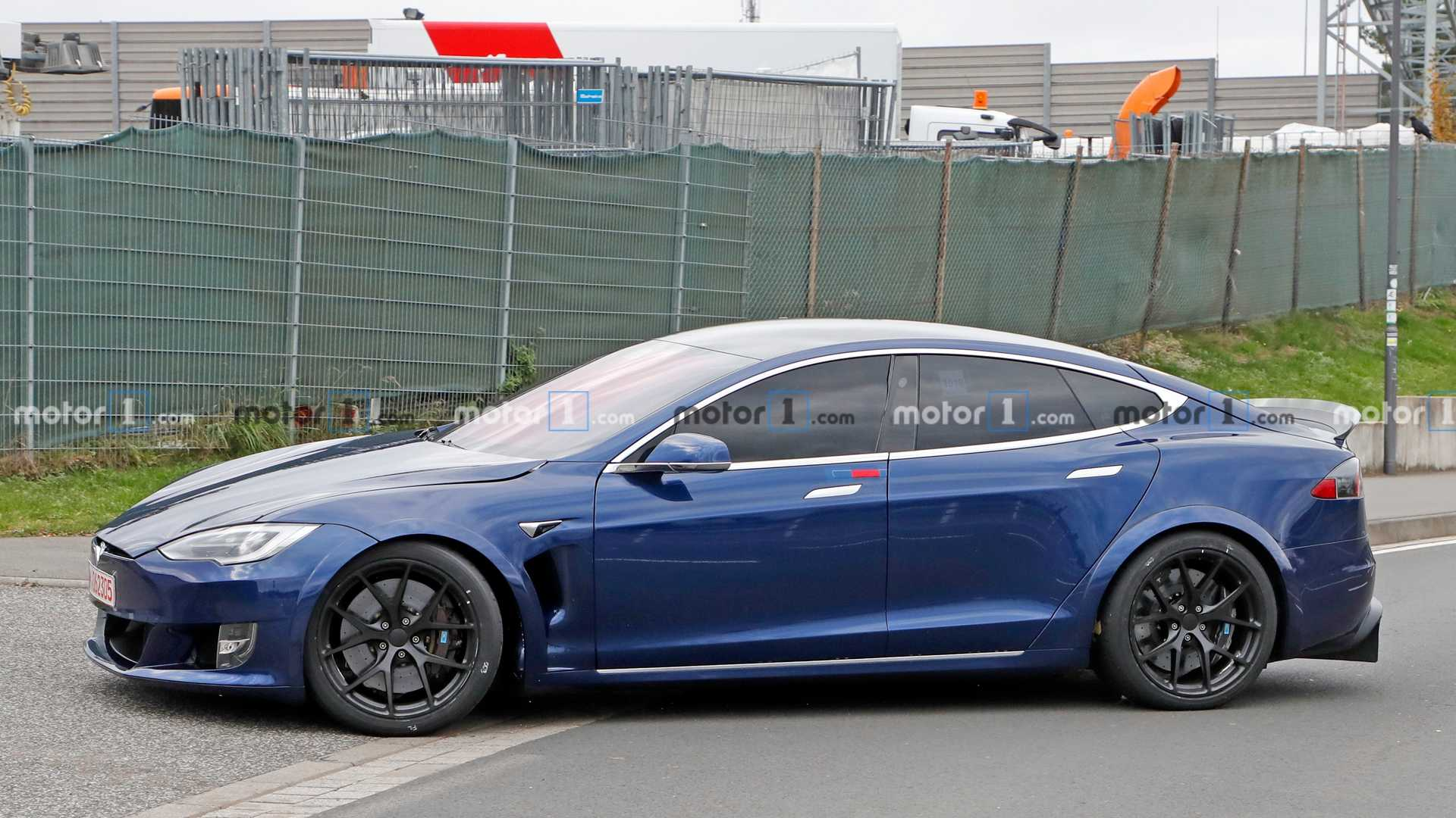 Tesla Model S spied back at the Nurburgring with some changes