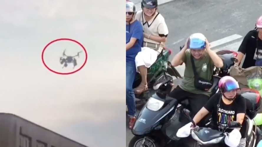 Chinese Traffic Cops Scold Rider With Drone