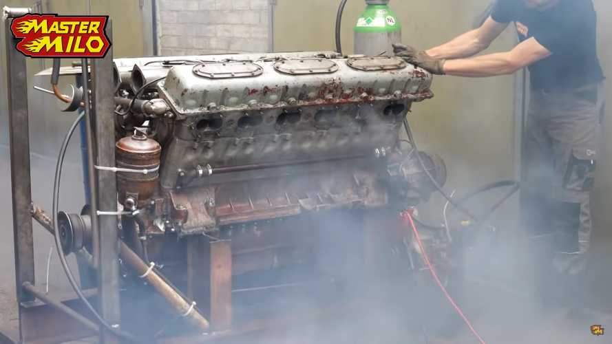 Watch This Crusty 38.8-Liter Tank Engine Miraculously Roar To Life