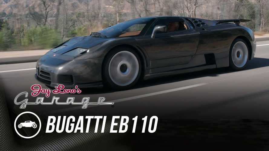 Bugatti EB110 Dauer in naked carbon fibre visits Jay Leno's Garage