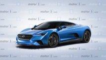 Subaru ortadan motorlu spor araç render