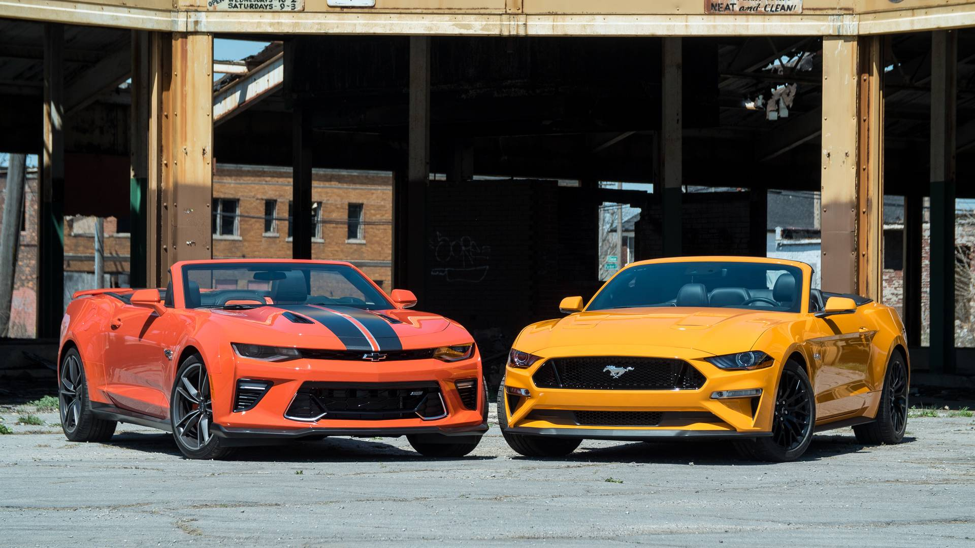 Chevy camaro ss vs ford mustang gt top down tussle