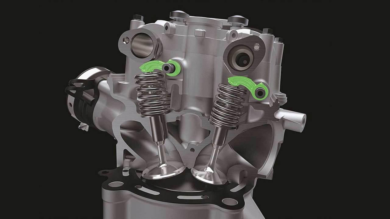 A look inside the new KX450's cylinder head.