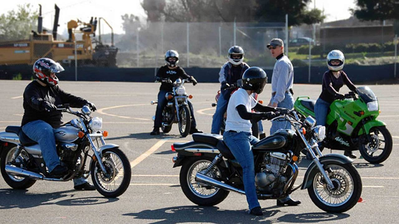 MSF Basic Rider Course participants receiving instruction.