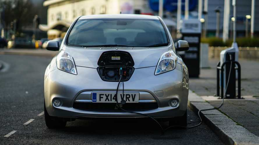 Nissan Leaf electric car is charging in Coventry UK