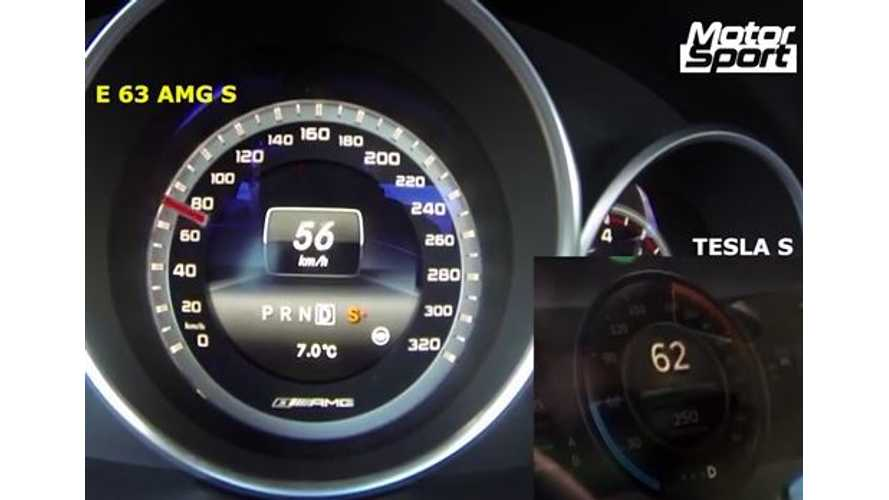 Tesla Model S Versus Mercedes-Benz E63 AMG S - 0 to 200 KM/H - Video