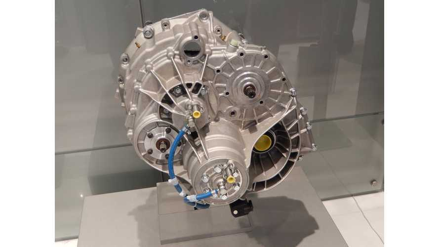 FEV Plug In Hybrid Two Speed Trans On Display at SAE World Congress