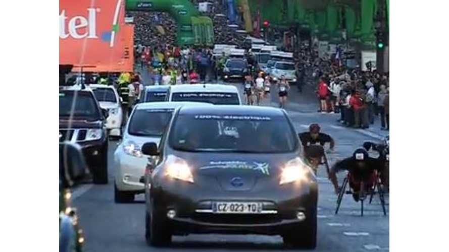 Nissan LEAF And e-NV200 At Paris Marathon - Video