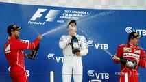 Podium- race winner Valtteri Bottas, Mercedes AMG F1, second place Sebastian Vettel, Ferrari, third place kimi Raikkonen, Ferrari