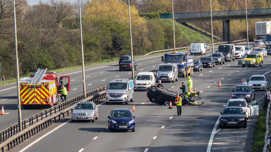 Car accident on M25 motorway with emergency services to the rescue in Berkshire UK