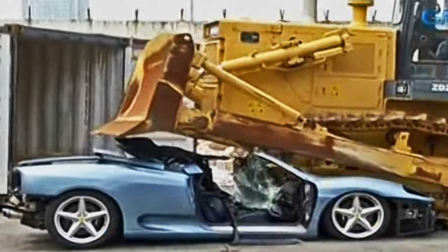 Try not to cry as this Ferrari 360 Spider gets crushed