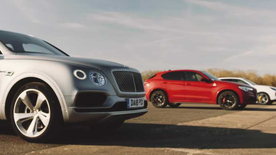 Bentley Bentayga, Porsche Cayenne Turbo, Alfa Stelvio Q Drag Race