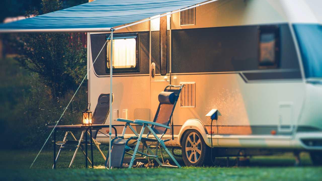 Caravan at camping park for the night