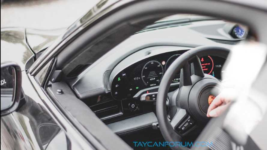 Porsche Taycan interior, instrument panel caught in spy photo