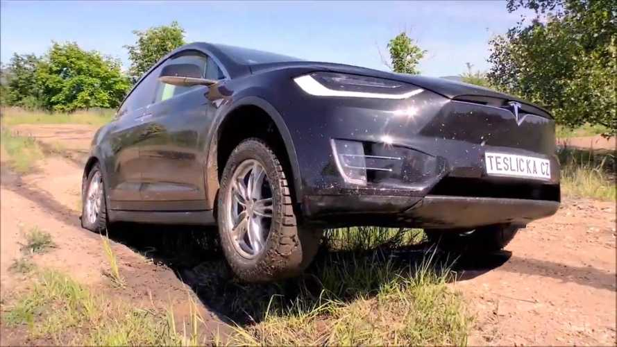 All It Takes To Put a Tesla Model X On Trails Are Mud Tires