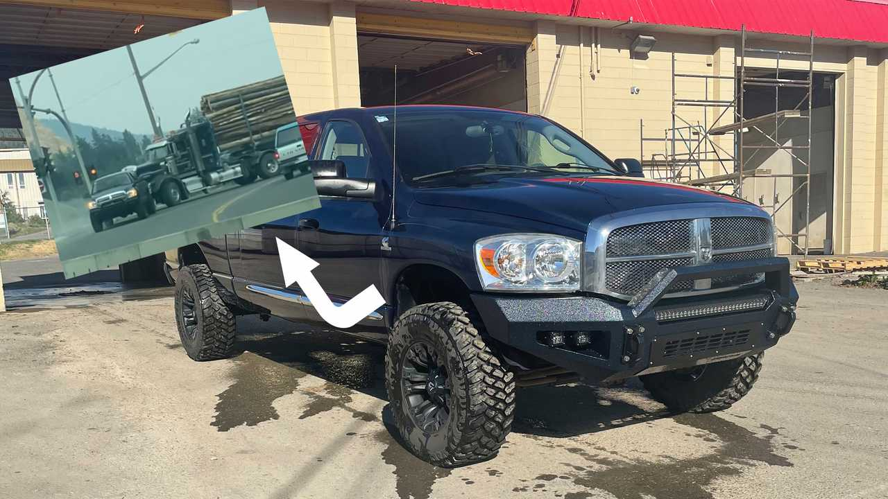 This 2007 Dodge Ram 3500 pulled a disabled logging truck from a busy intersection.