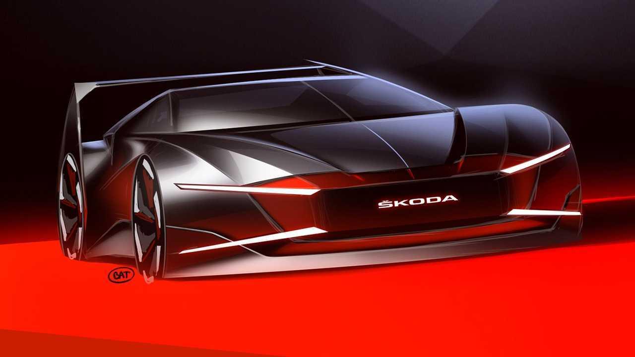 Rendering Skoda Ferat dengan desain tajam dan futuristik.