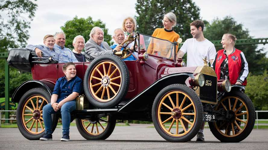 101-year old man driving Ford Model T and Mustang Mach-E