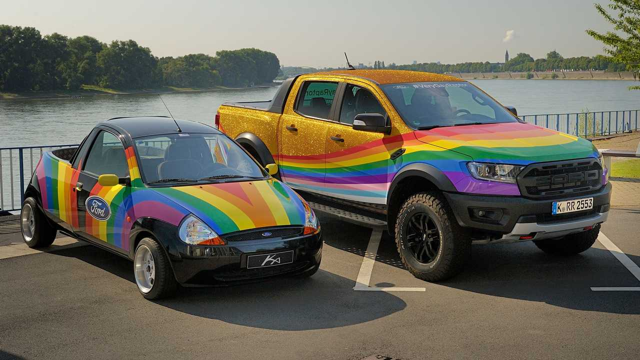 Ford's special Very Gay Ranger Raptor with a rainbow-adorned custom Ka created to support the LGBTQ+ community.