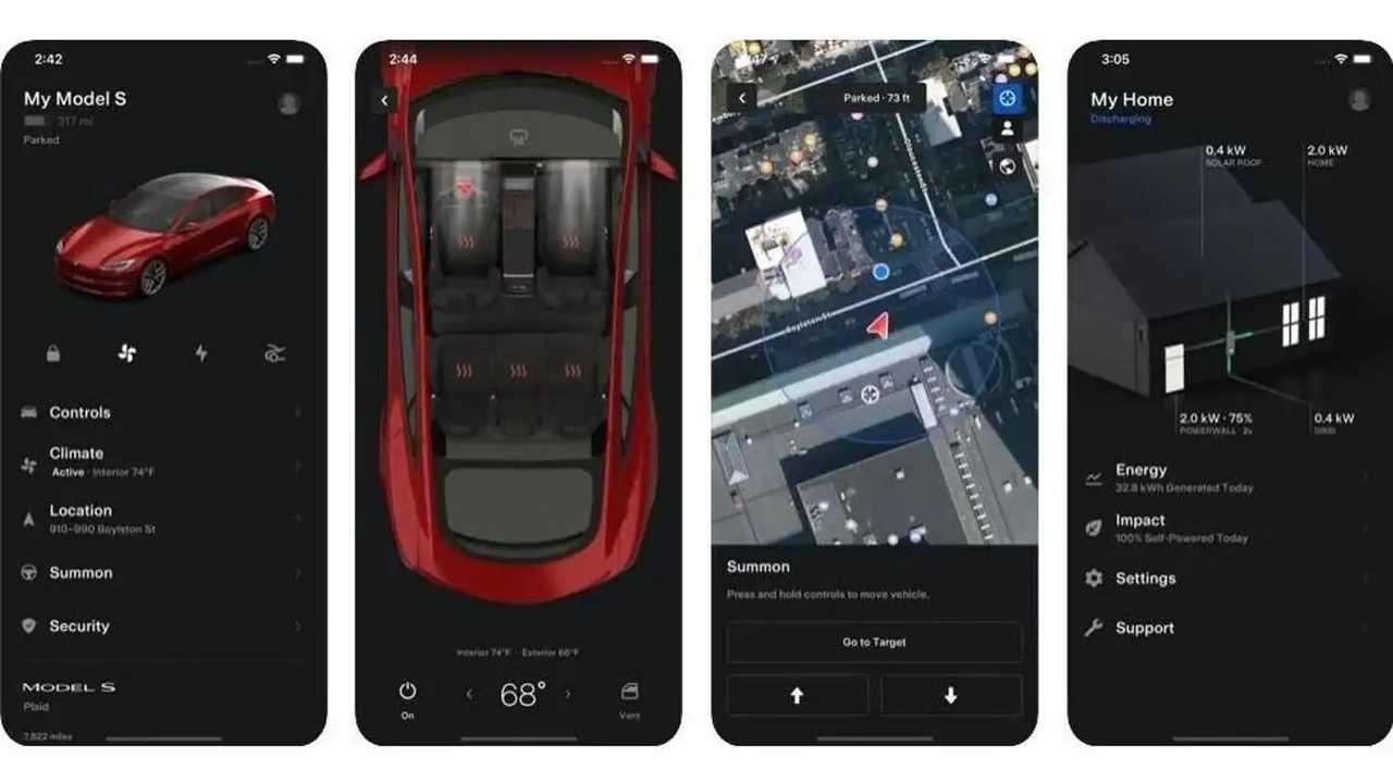 La Tesla app nella versione 4.0