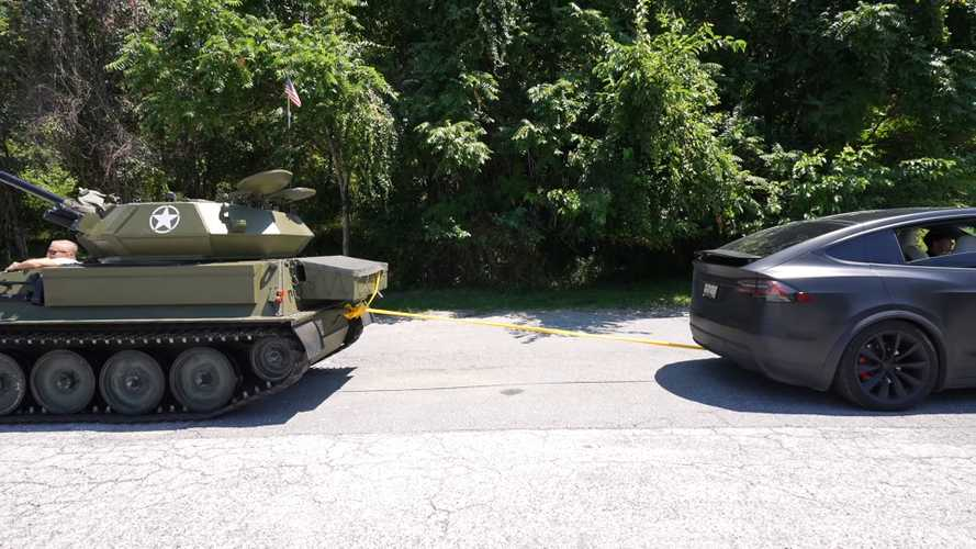 Tesla Model X Faces Tank In Tug-Of-War Because The World Has Gone Mad