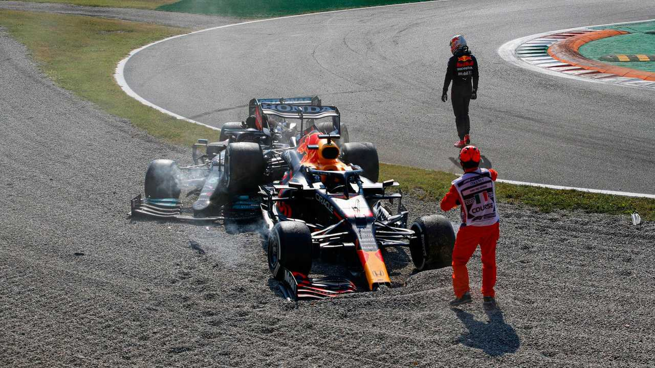 Max Verstappen walking away from crash with Lewis Hamilton in Italian GP 2021
