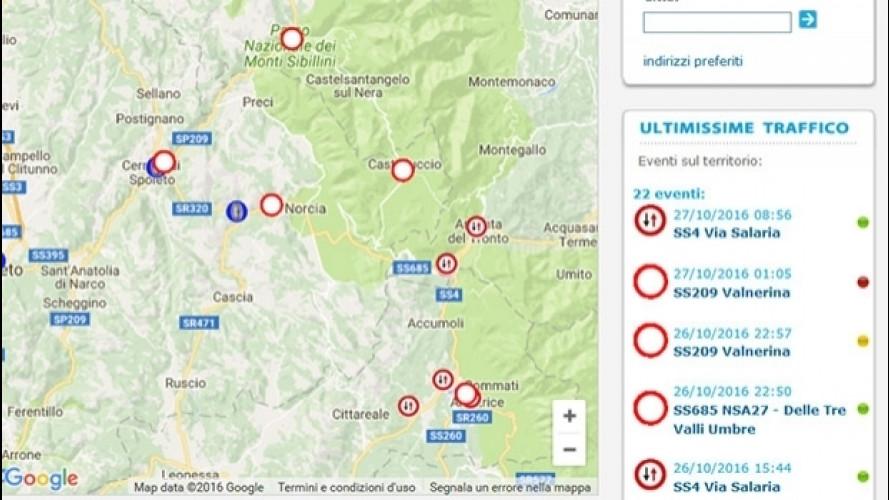 Terremoto, la situazione della viabilità nel centro Italia