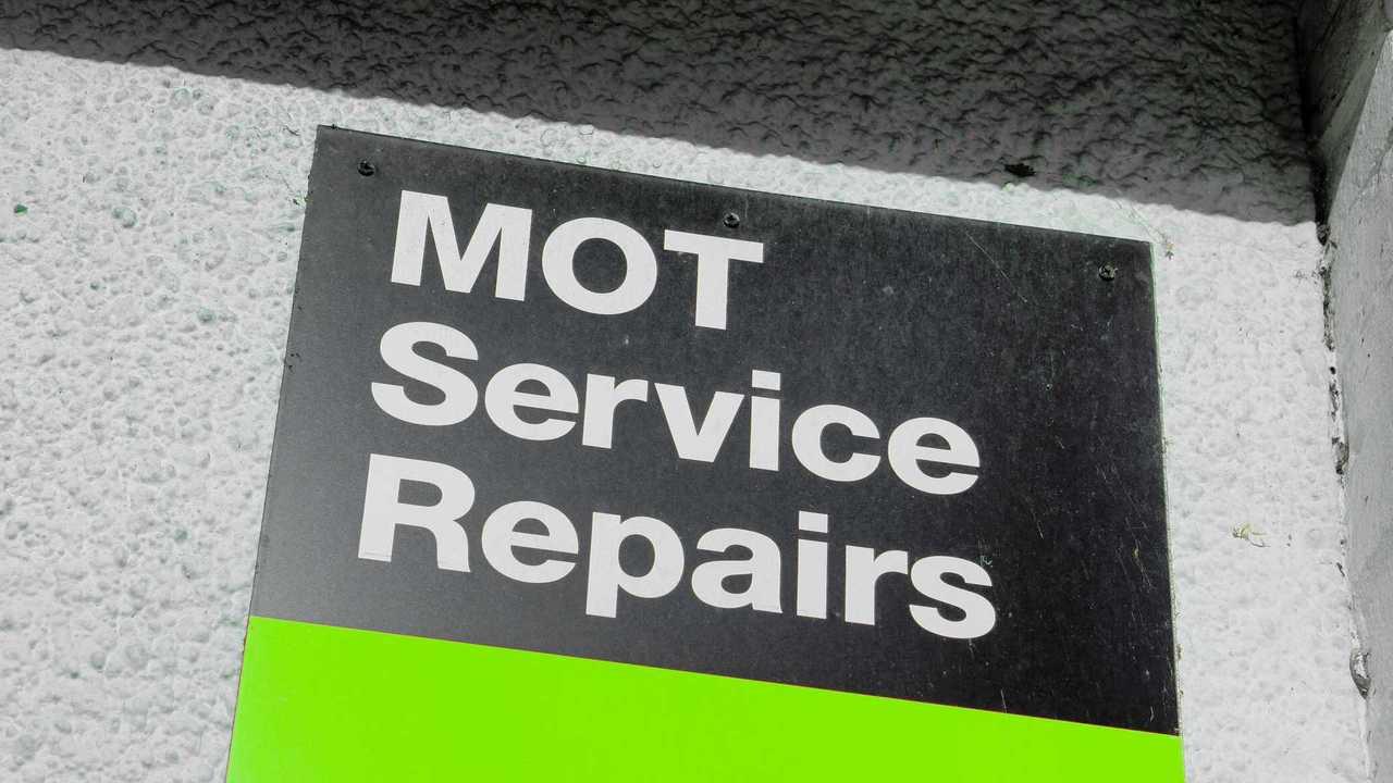 MOT testing station sign in the UK