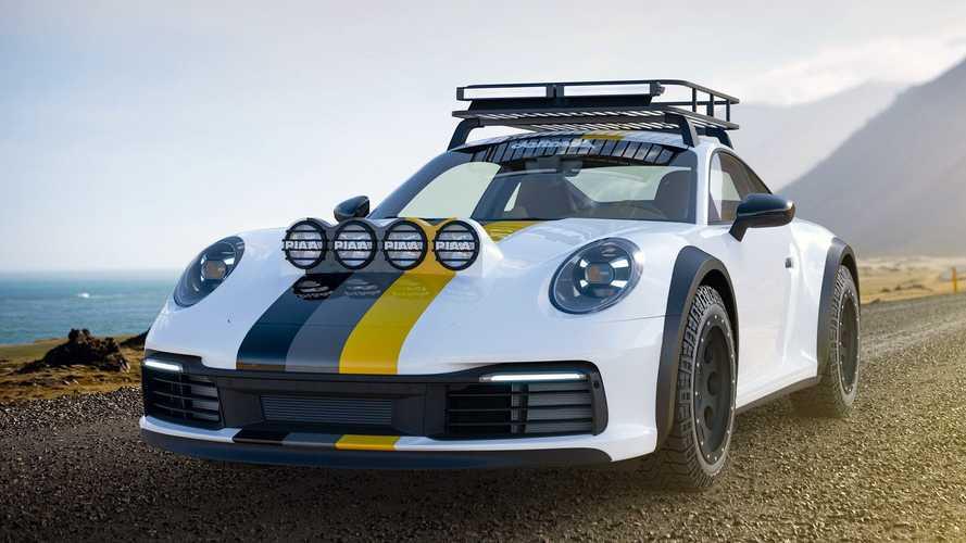 Une Porsche 911 Carrera 4S parée pour le Paris-Dakar