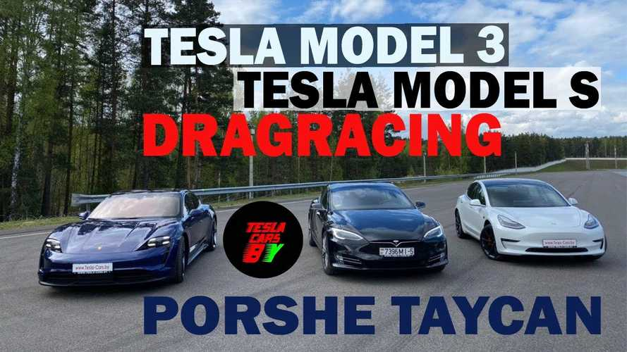 Watch Tesla Model 3 Performance blow away Porsche Taycan 4S in drag race