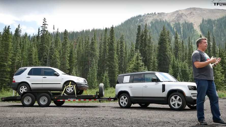 Watch the new Land Rover Defender impress while hauling old Mercedes ML