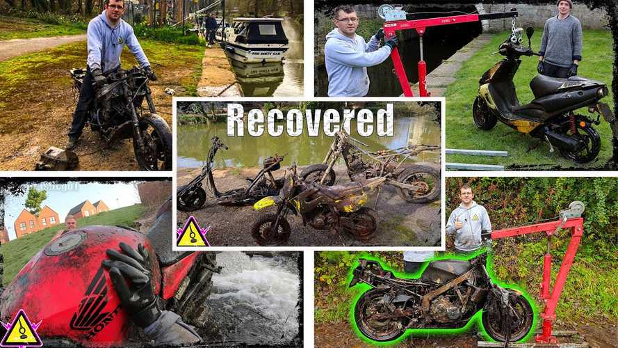 This bloke pulls stolen motorcycles out of canals for fun