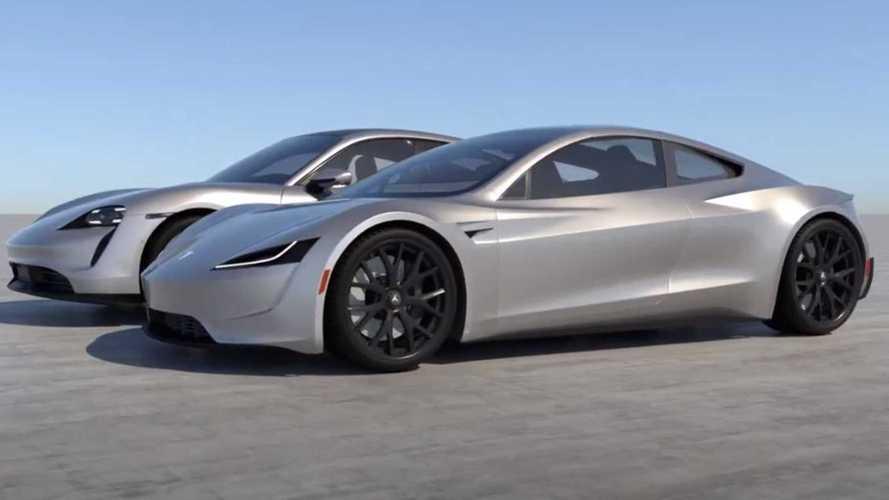 Videó: Nézd meg egymás mellett a Porsche Taycant és a Tesla Roadstert!